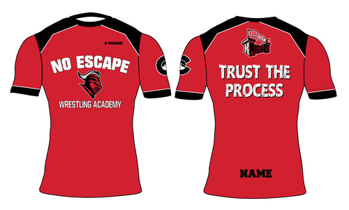 No Escape Wrestling Academy Sublimated Compression Shirt - Red/Black - 5KounT2018