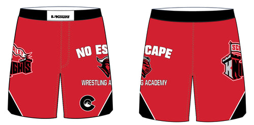 No Escape Wrestling Academy Sublimated Fight Shorts - Red/Black - 5KounT2018