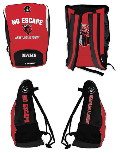 No Escape Wrestling Academy Sublimated Backpack - Red/Black - 5KounT2018