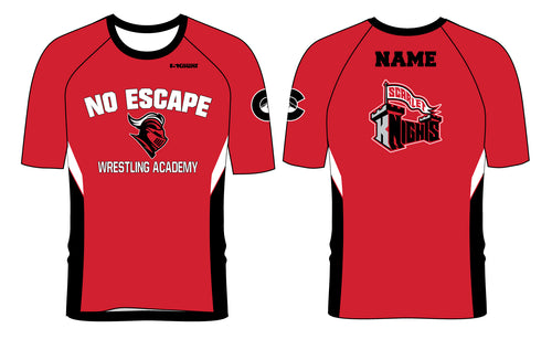 No Escape Wrestling Academy Sublimated Fight Shirt - Red/Black - 5KounT2018