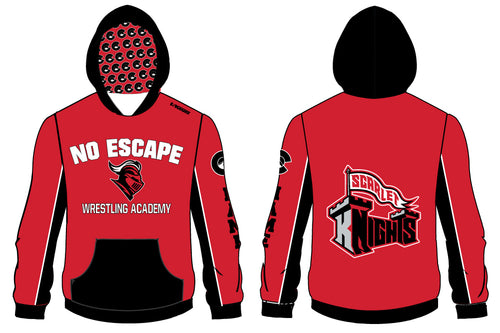 No Escape Wrestling Academy Sublimated Hoodie - Red/Black - 5KounT2018