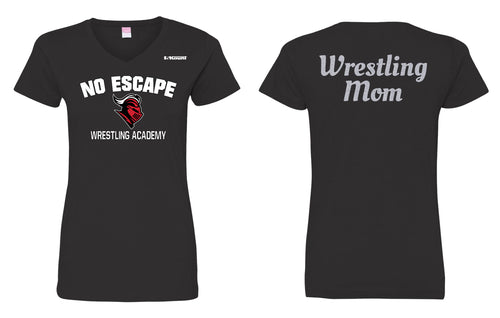 No Escape Wrestling Academy Mom Glitter Cotton Women's V-Neck Tee - Black - 5KounT2018