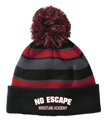 No Escape Wrestling Academy Pom Beanie - Black/Red - 5KounT2018