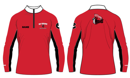 No Escape Wrestling Academy Sublimated Quarter Zip - Red/Black - 5KounT2018