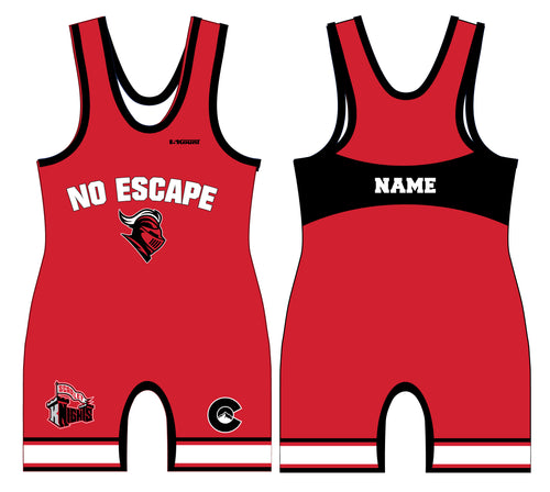 No Escape Wrestling Academy Sublimated Men's Singlet - Red/Black - 5KounT2018