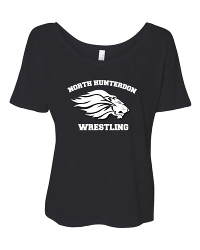 North Hunterdon Wrestling Women's Slouchy Tee - Black