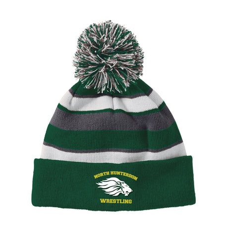 North Hunterdon Wrestling Pom Beanie - Forest