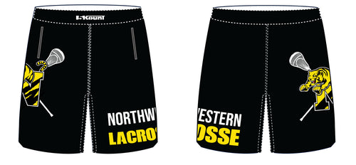 Northwestern lacrosse Sublimated Panel Shorts Black/White