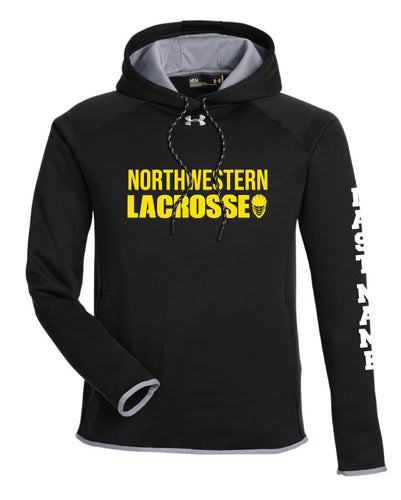 Northwestern Lacrosse Wrestling Under Armour Men's Double Threat Armour Fleece Hoodie -Black