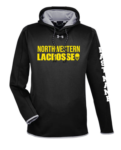 Northwestern Lacrosse Wrestling Under Armour Ladies' Double Threat Armour Fleece Hoodie - Black - 5KounT2018