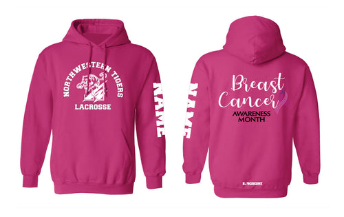 Northwestern Lacrosse Cotton Hoodie Cancer Awareness