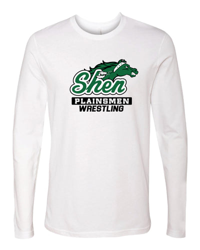 Plainsmen Wrestling Long Sleeve Cotton Crew - White