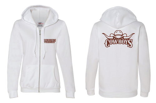 Pascack Hills Cowboys Full-Zip Hooded Sweatshirt - White