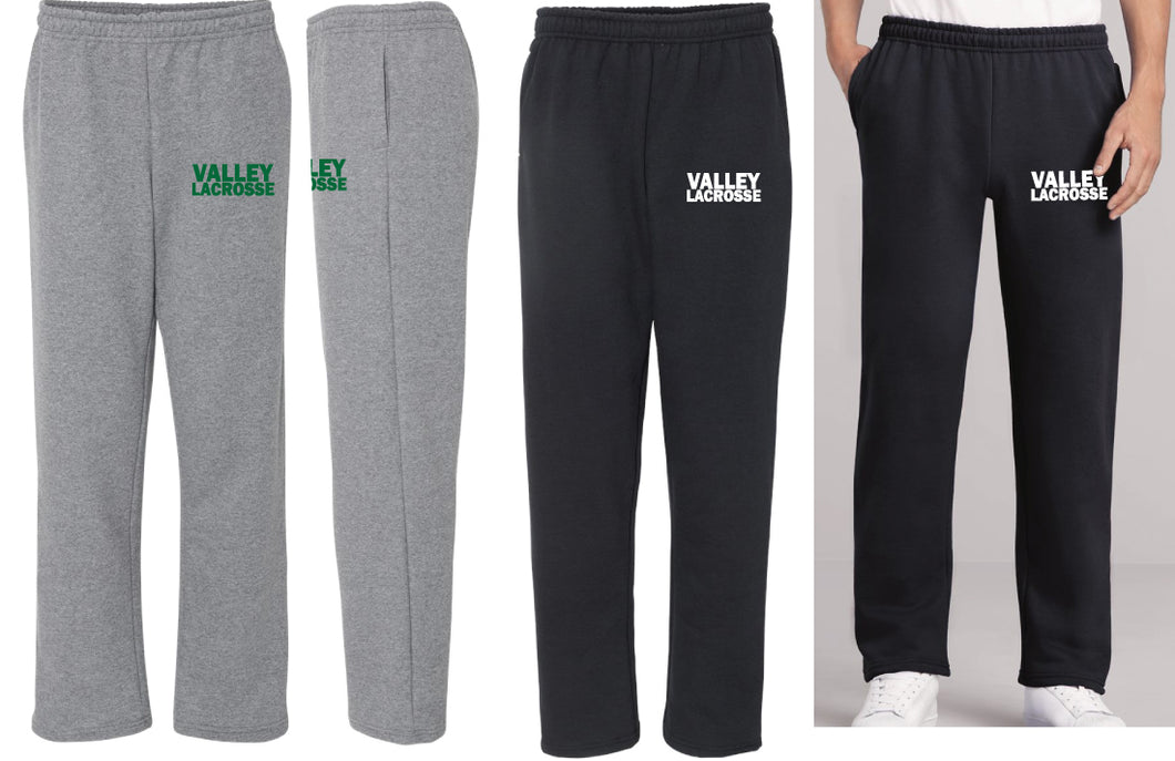 VALLEY LACROSSE COTTON SWEATPANTS W/ POCKET- Black and Graphite Heather - 5KounT