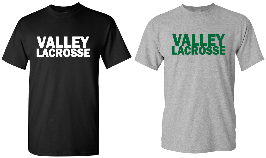 VALLEY LACROSSE COTTON CREW TEE - BLACK AND GREY - 5KounT