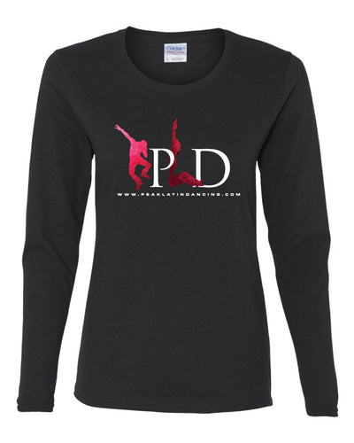 Peak Ladies' Long Sleeve Cotton Crew - black