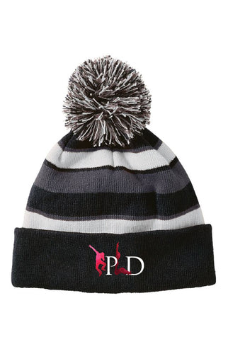 Peak Pom Beanie - black/white/grey