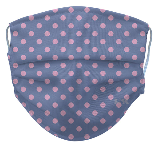 Pink Polka Dot Reusable Face Mask - White/Turquoise/Periwinkle
