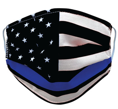 Blue Line police flag facemask