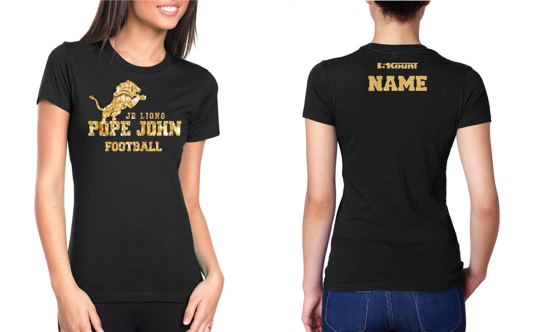 Pope John Jr. Lions Football Glitter Cotton Crew Tee - 5KounT2018