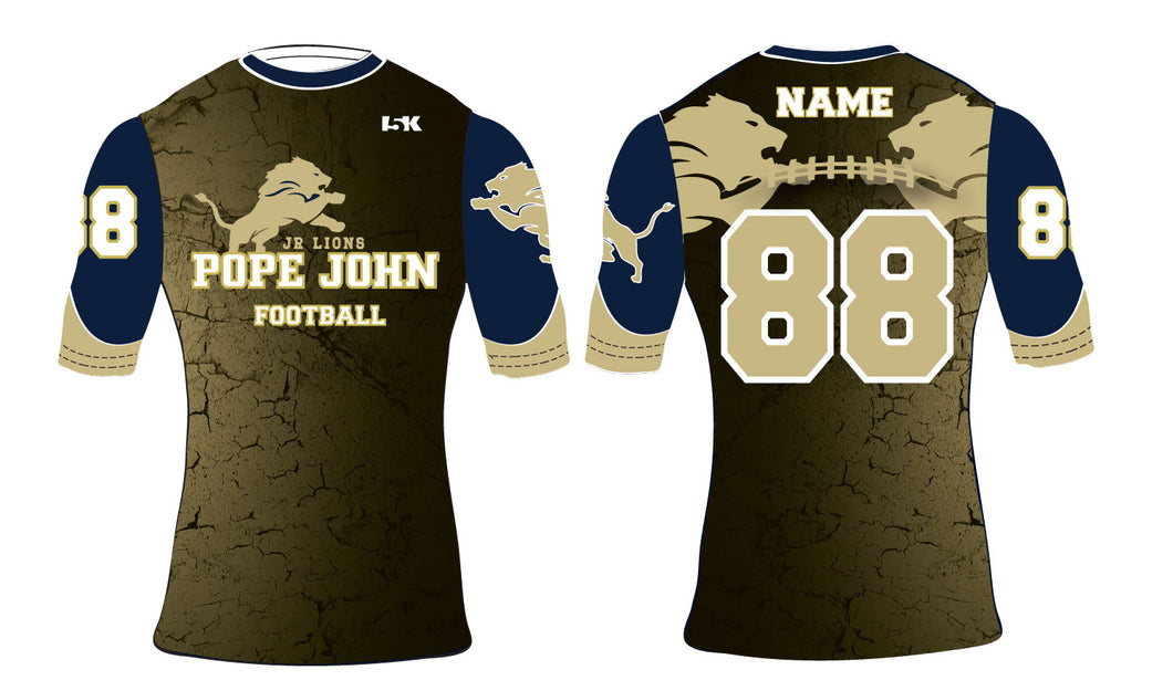Pope John Jr. Lions Football Sublimated Compression Shirt - 5KounT
