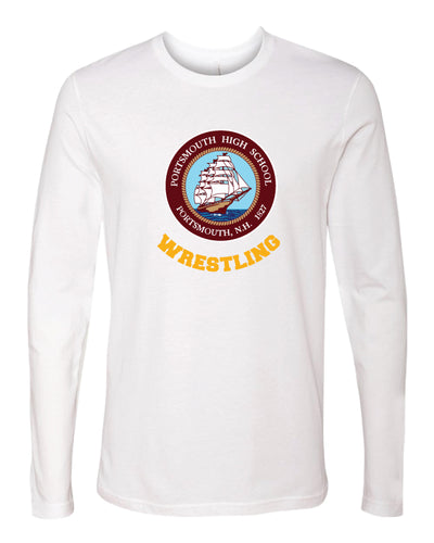 Portsmouth HS Wrestling Long Sleeve Cotton Crew - White