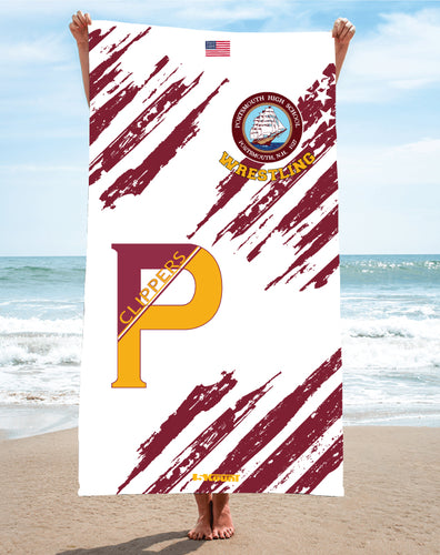 Portsmouth HS Wrestling Sublimated Beach Towel