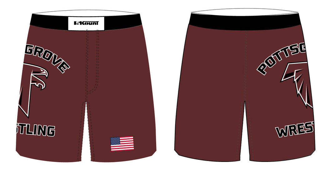 Pottsgrove Falcons Wrestling Sublimated Fight Shorts - 5KounT2018