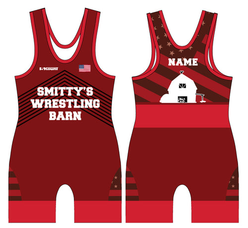 Smitty's Wrestling Barn Freestyle Sublimated Men's Singlet - Red/Blue/Baby Blue - 5KounT2018