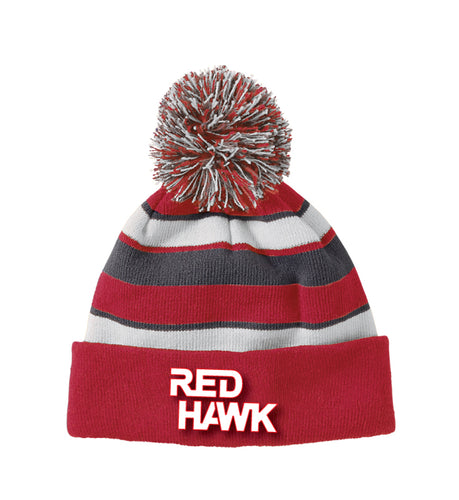RedHawk Wrestling Club Pom Beanie -Red