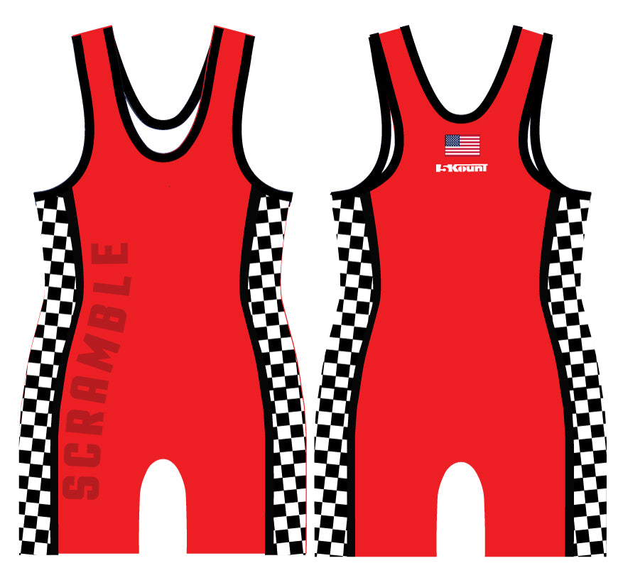 Checkerboard Sublimated Singlet- Neon Red