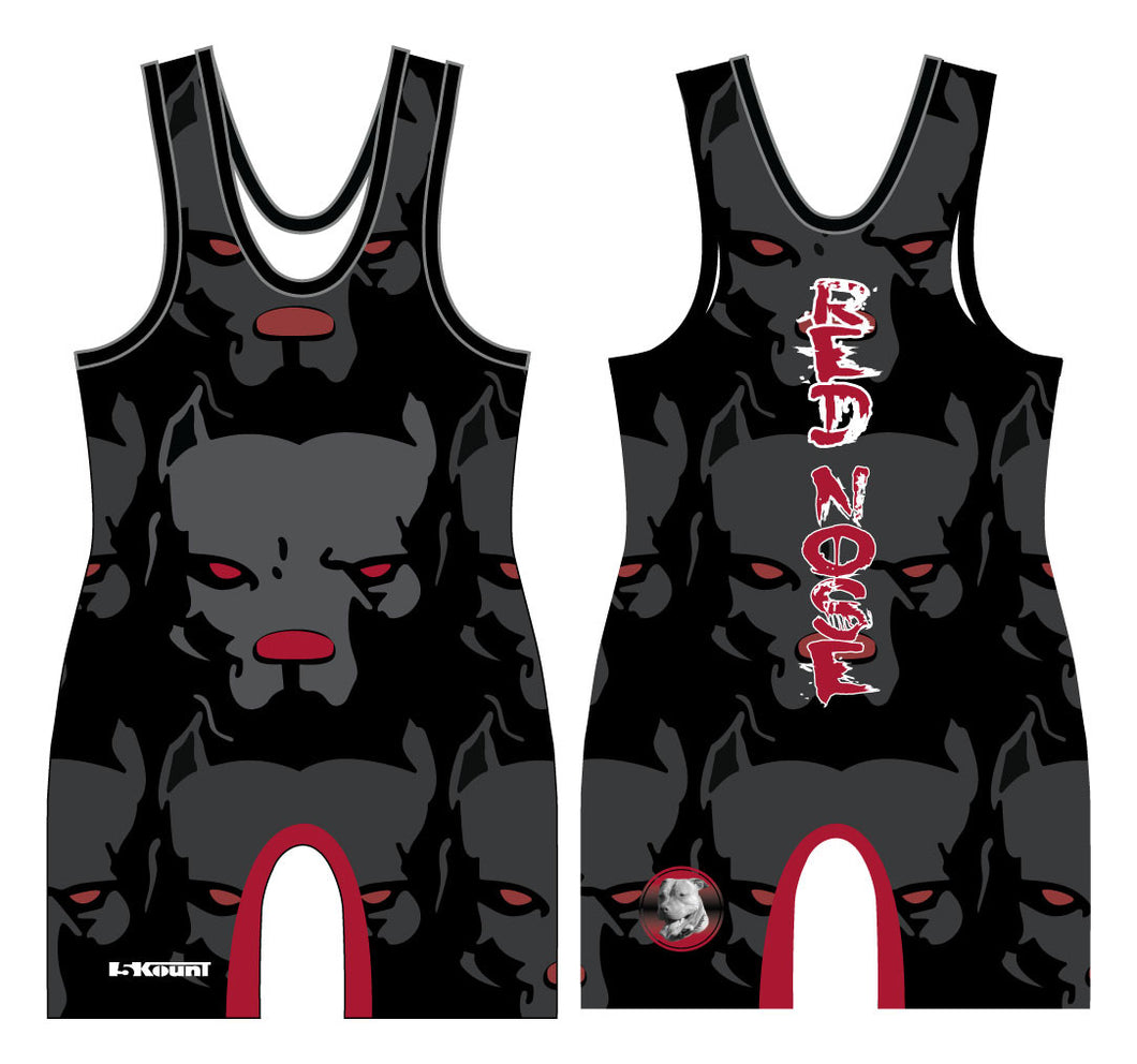 Red Nose Sublimated Singlet Black
