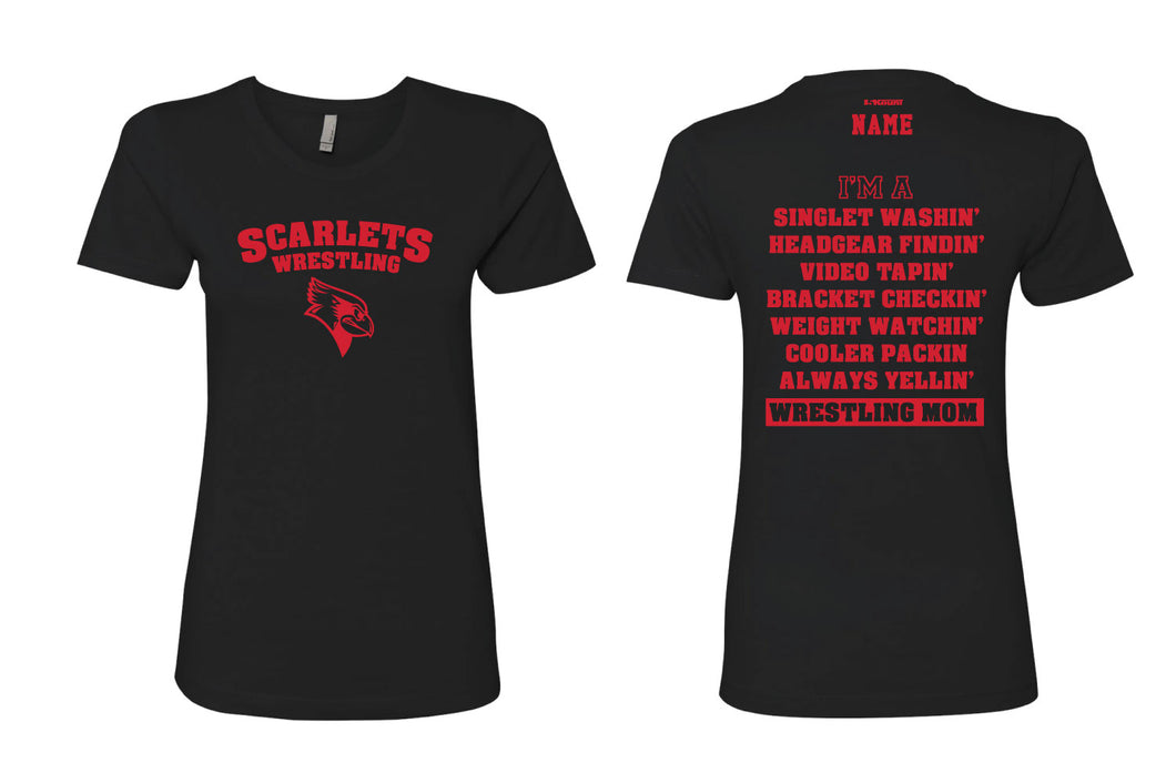 Scarlets Wrestling Cotton Crew Tee Mom 2 Black - 5KounT2018