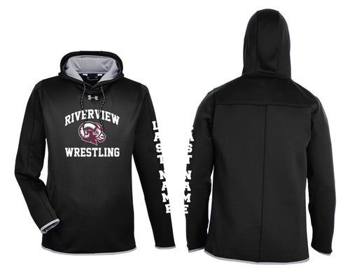Riverview Wrestling Under Armour Men's Double Threat Armour Fleece Hoodie - Black - 5KounT2018
