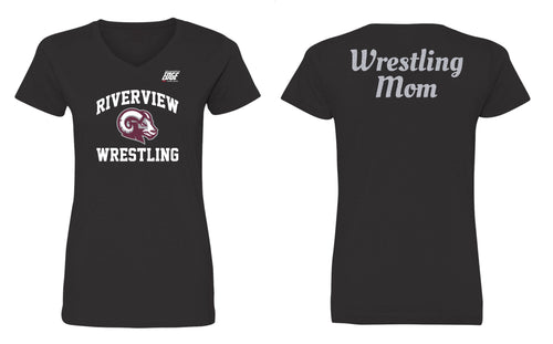Riverview Wrestling Mom Glitter Cotton Women's V-Neck Tee - Black - 5KounT2018