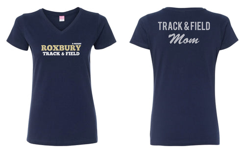 Roxbury Track & Field Mom Glitter Cotton Women's V-Neck Tee - Navy - 5KounT2018