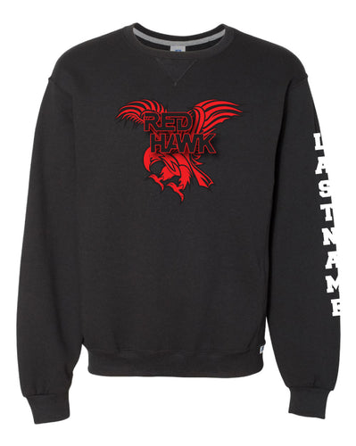 RedHawk Wrestling Club Russell Athletic Crewneck Sweatshirt - Black/Oxford - 5KounT2018