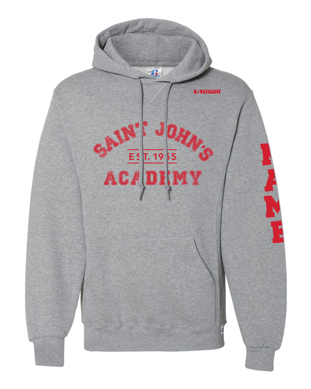 Saint John's Academy Russell Athletic Cotton Hoodie - Grey