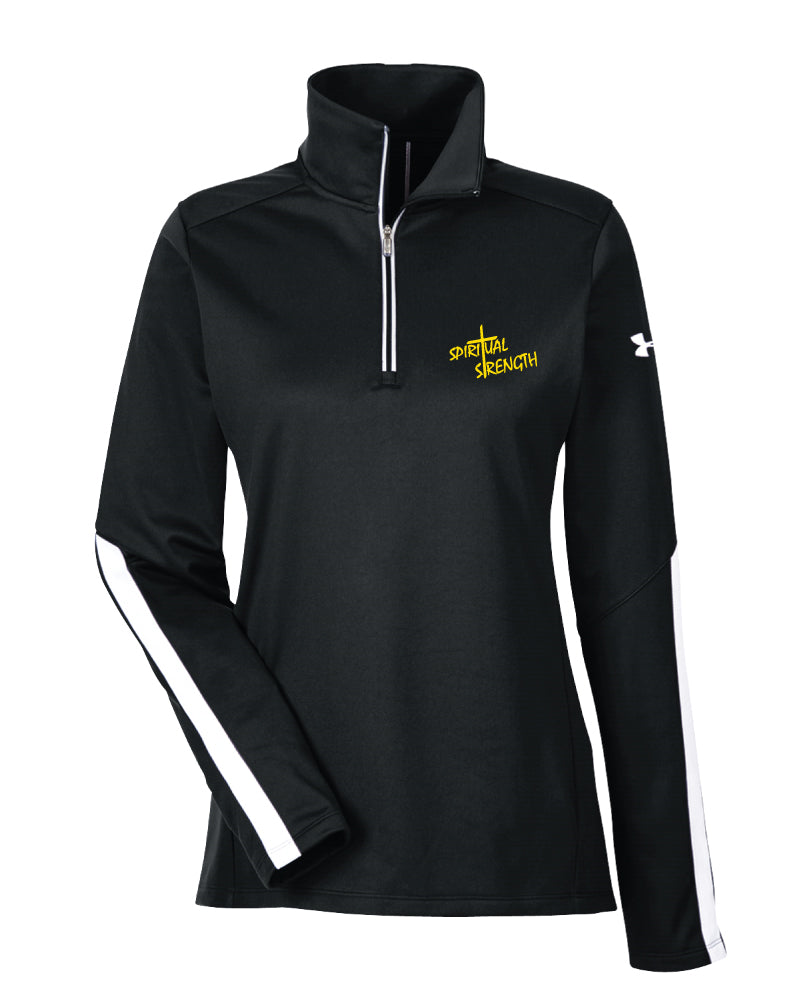 Spiritual Strenght Mindset Under Armour Ladies' Qualifier 1/4 Zip - Black
