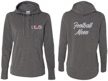 SVMFL Football Mom Glitter Terry Snap Placket Hooded Pullover - Charcoal
