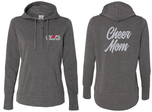 SVMFL CHEER Mom Glitter Terry Snap Placket Hooded Pullover - Charcoal