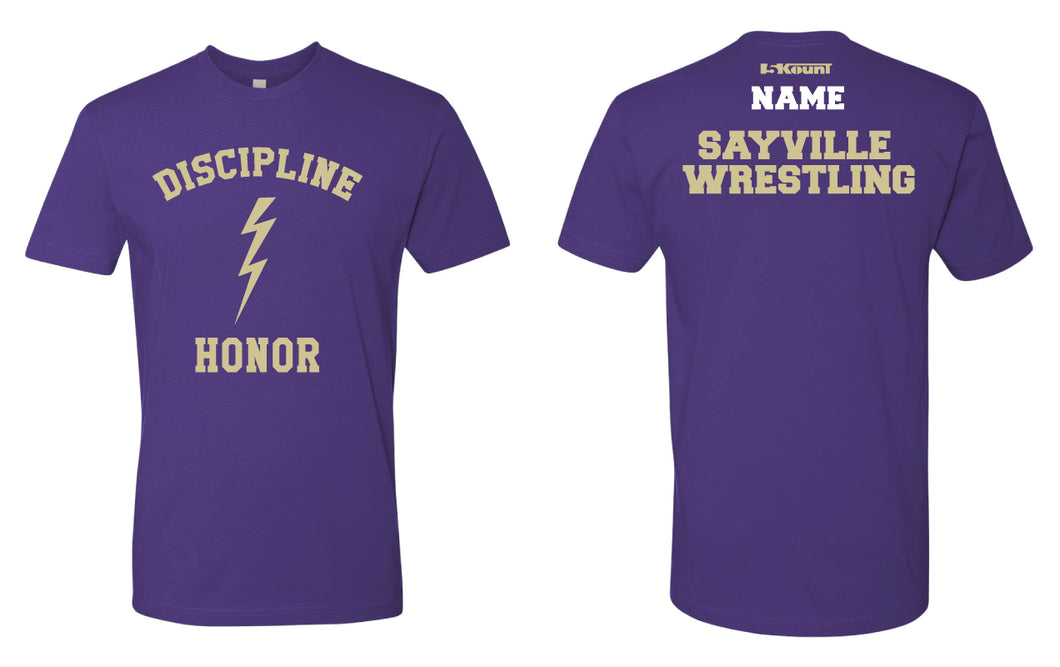 Sayville HS Wrestling Cotton Crew Tee - Purple - 5KounT
