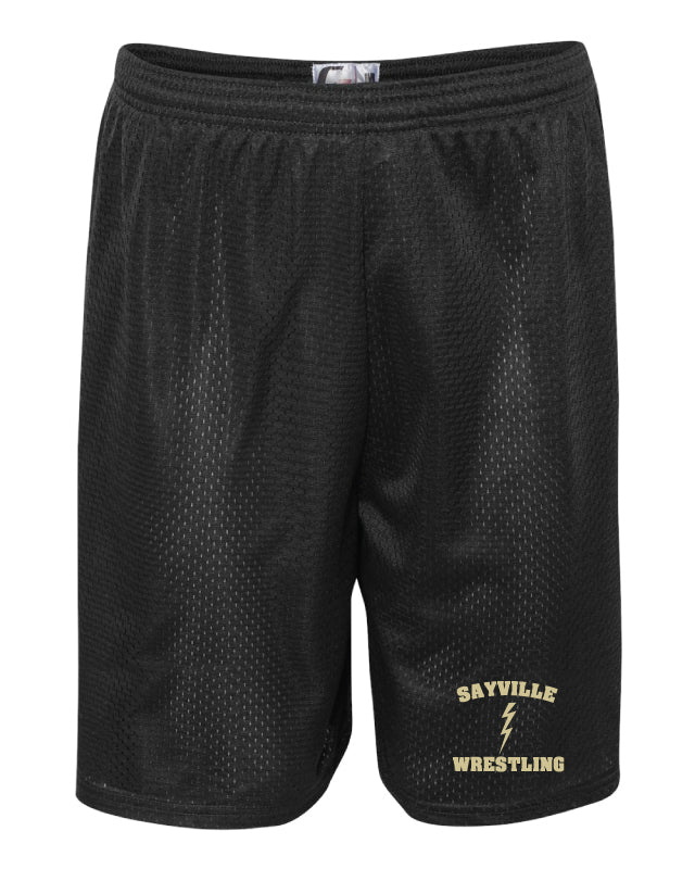 Sayville HS Wrestling Tech Shorts - Black