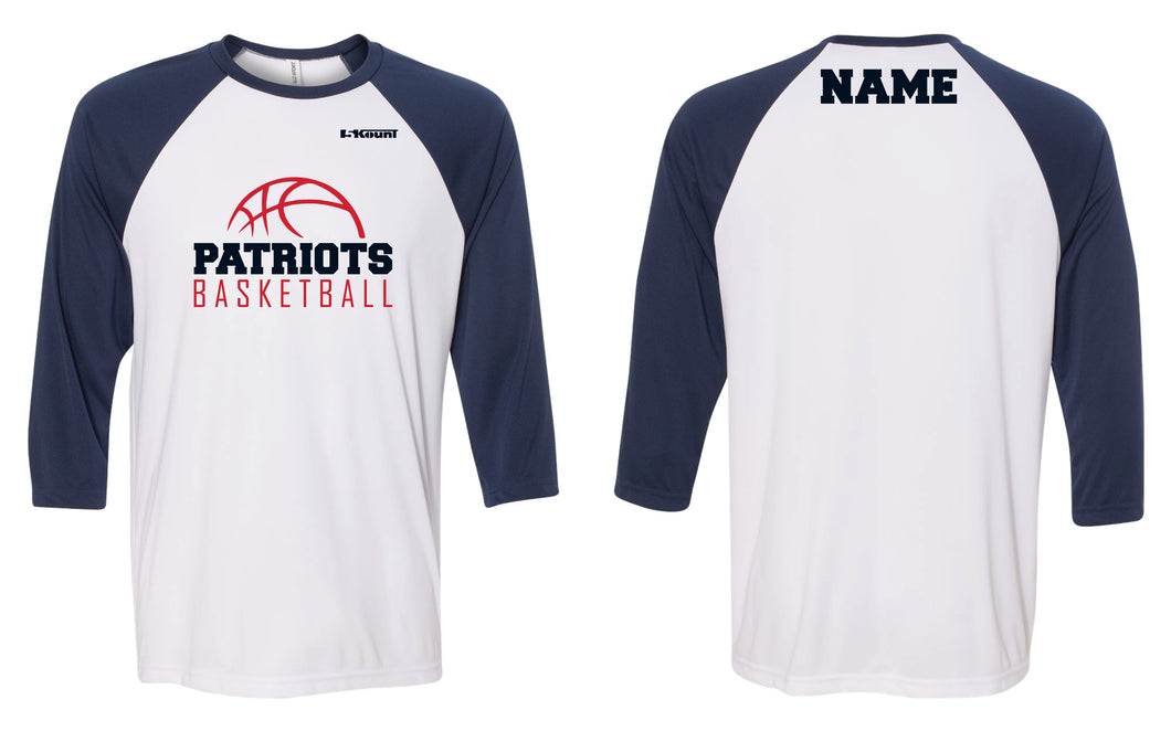 Secaucus Basketball Baseball Shirt - White/Navy