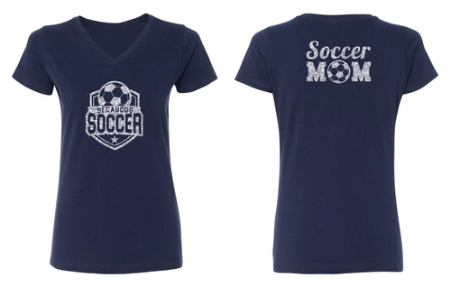 Secaucus Soccer Mom Glitter Cotton Women's V-Neck Tee - Navy - 5KounT2018