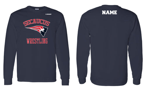 Secaucus Wrestling Cotton Long Sleeve - Navy