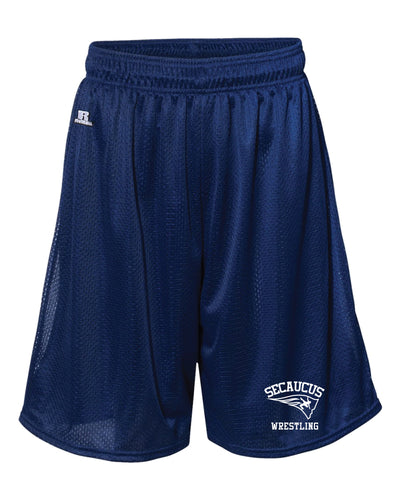 Secaucus Wrestling Tech Shorts Russell Athletic  Tech Shorts - Navy/Red - 5KounT2018