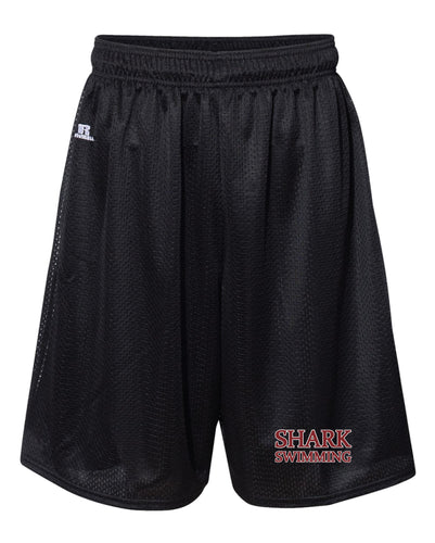 Shark Swimming Russell Athletic  Tech Shorts - Black - 5KounT2018