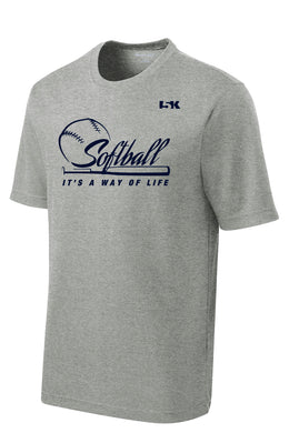 Softball is a Way of Life Dryfit Performance Tee - Grey