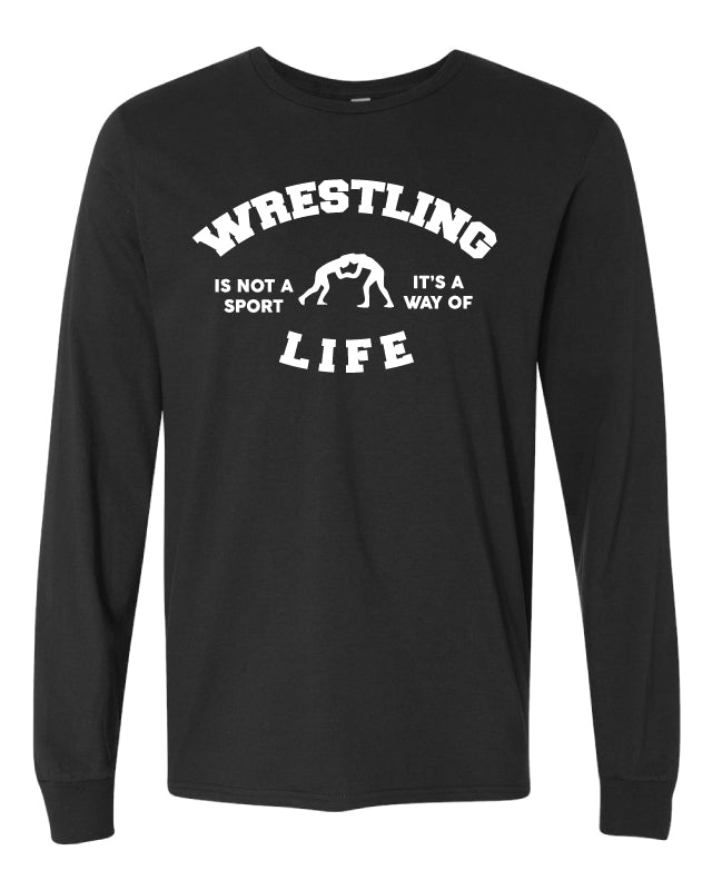 Wrestling is a Way of Life Cotton Long Sleeve - Black - 5KounT2018